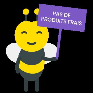 illustration abeille avec une pancarte pas de produits frais