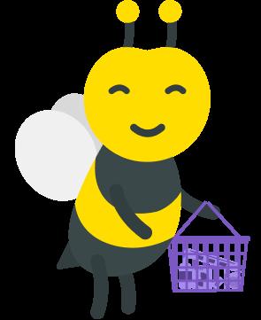 illustration abeille avec un panier